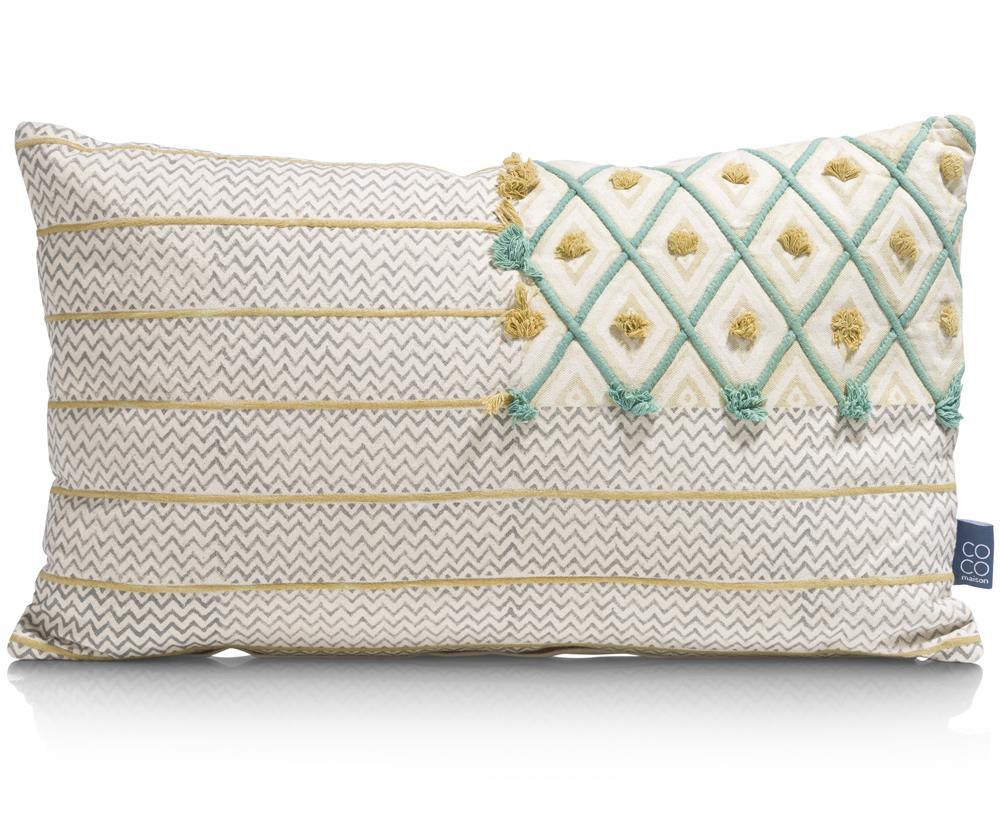 Coussin rectangulaire beige détails colorés en relief