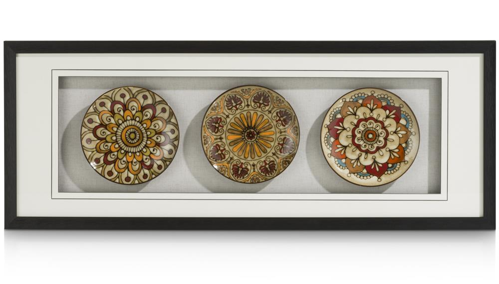 Tableau assiettes céramiques motifs colorés