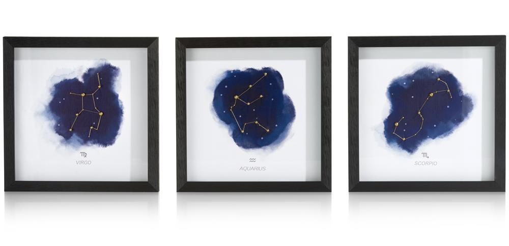 trois tableaux carrés motifs constellations