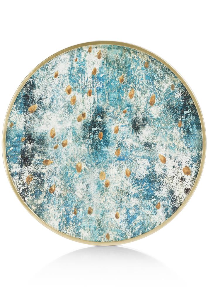 Peinture ronde bleu détails gold