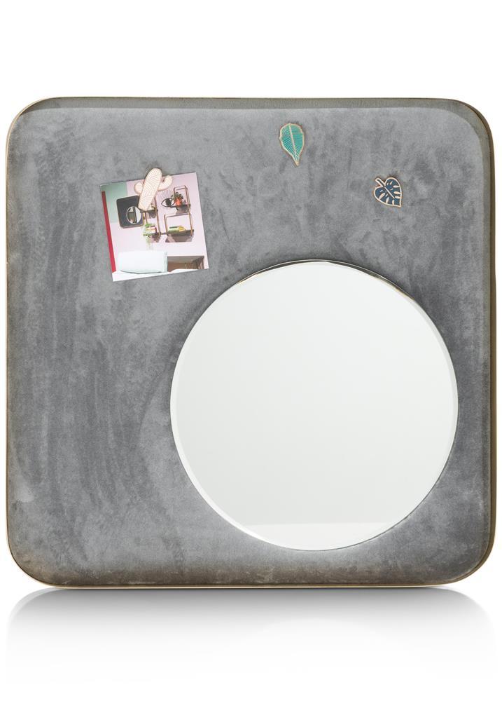Miroir rond sur tableau gris aimanté