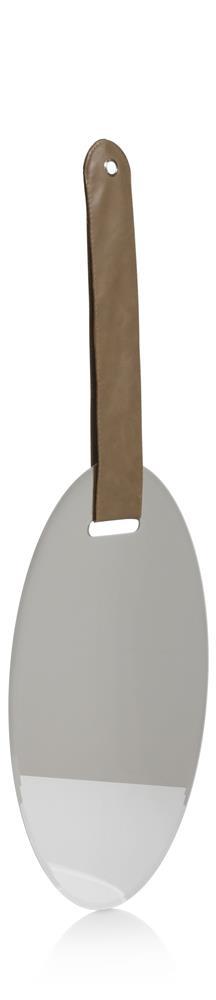 Miroir ovale suspendu par poignée en cuir