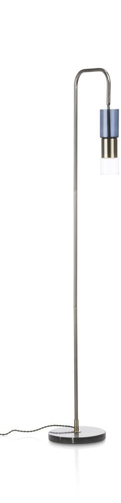 Lampe sur pied métal bronze bleu base marbre