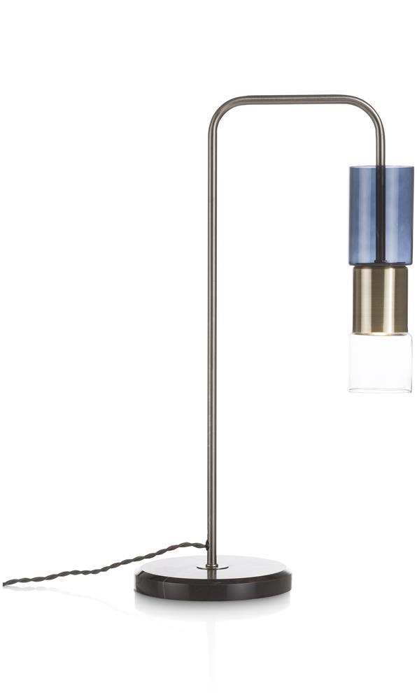 Lampe de bureau grise détails bronze et bleu base marbre