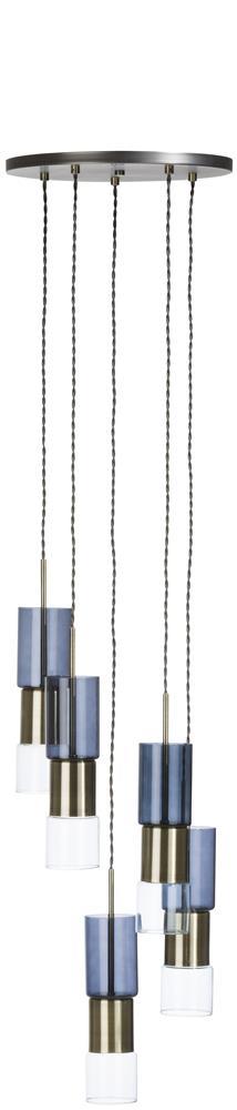 Lustre multi ampoules gris bleu bronze