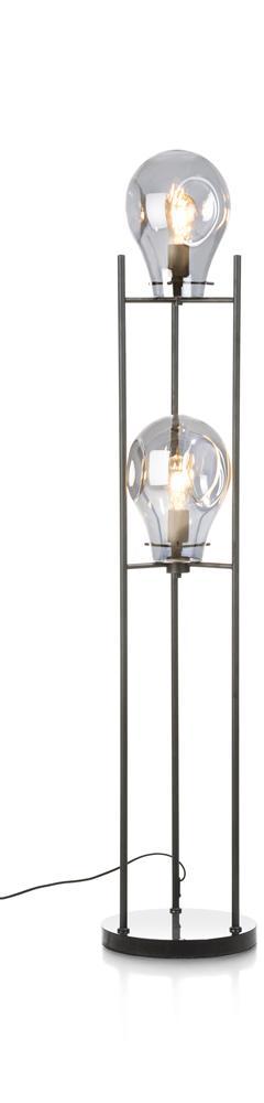 lampe sur pied double éclairage grise et noire
