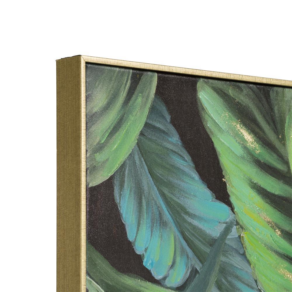 Peinture motifs feuilles de bananier cadre gold