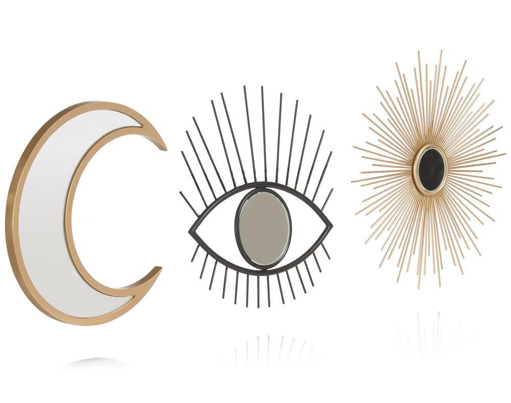 trois miroirs lune soleil œil gold