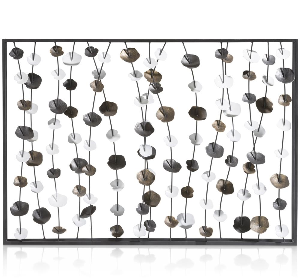 Décoration murale métallique tiges et feuilles