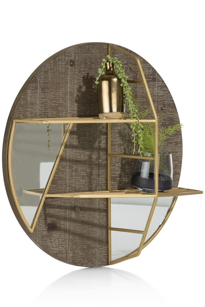 Etagère avec fond miroir détails gold