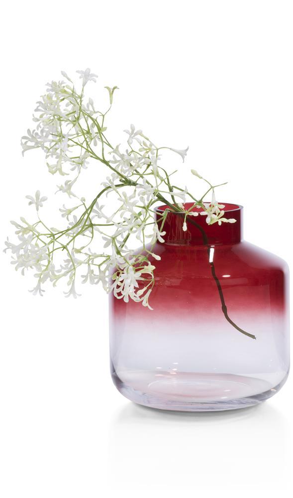 Vase en verre dégradé rouge
