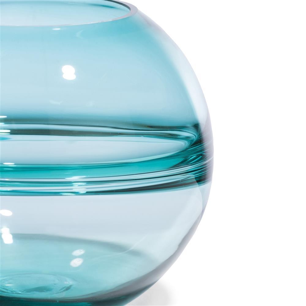 Vase boule en verre bleu turquoise