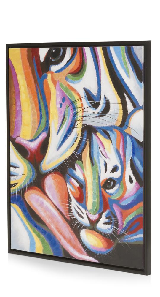 Peinture multicolore tigresse et son bébé