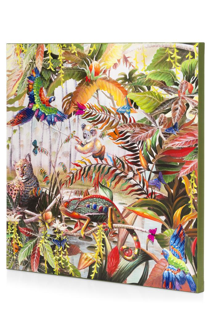 Tableau jungle multicolore