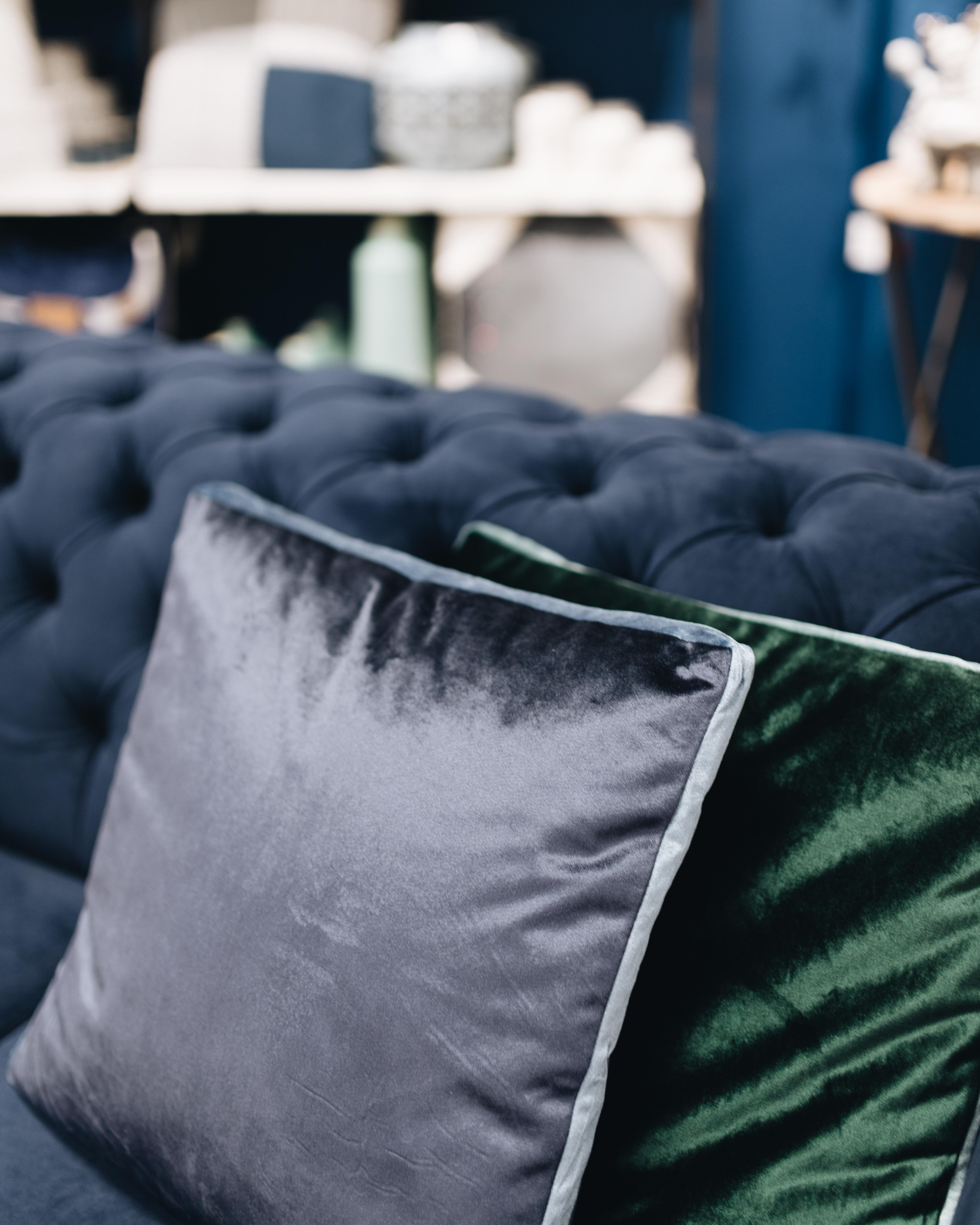 coussins velours bleu vert