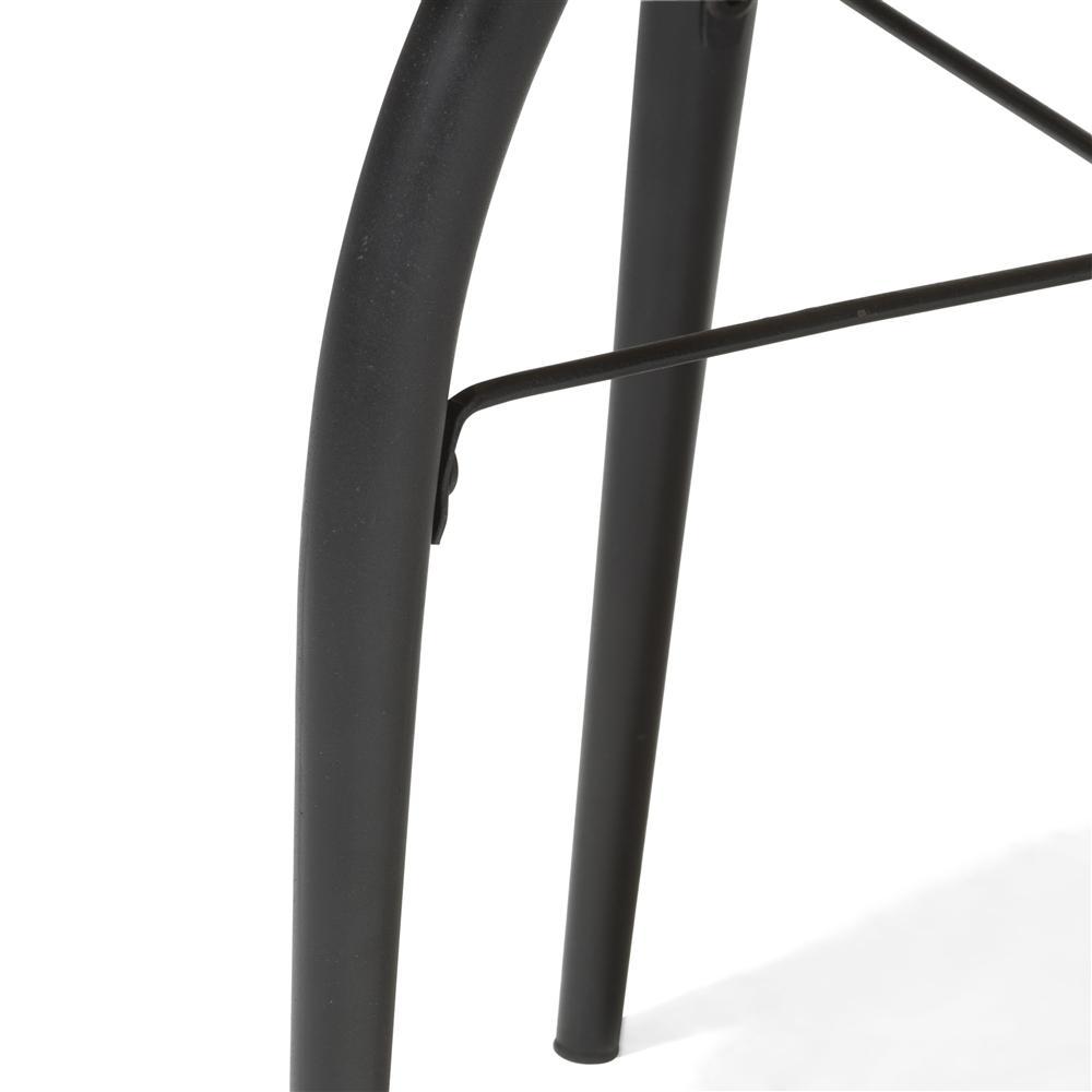 Table d'appoint tabouret plateau rond en bois pieds noirs