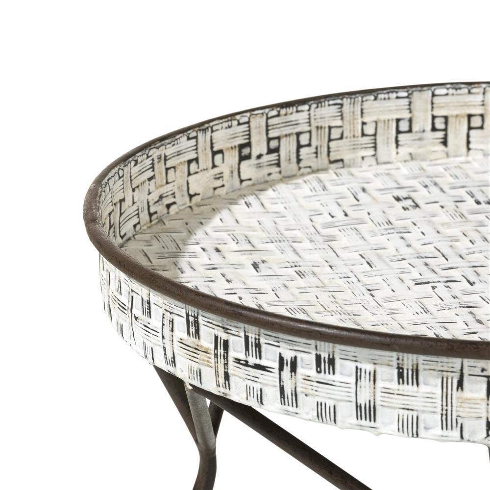 Table d'appoint métal blanc plateau rond