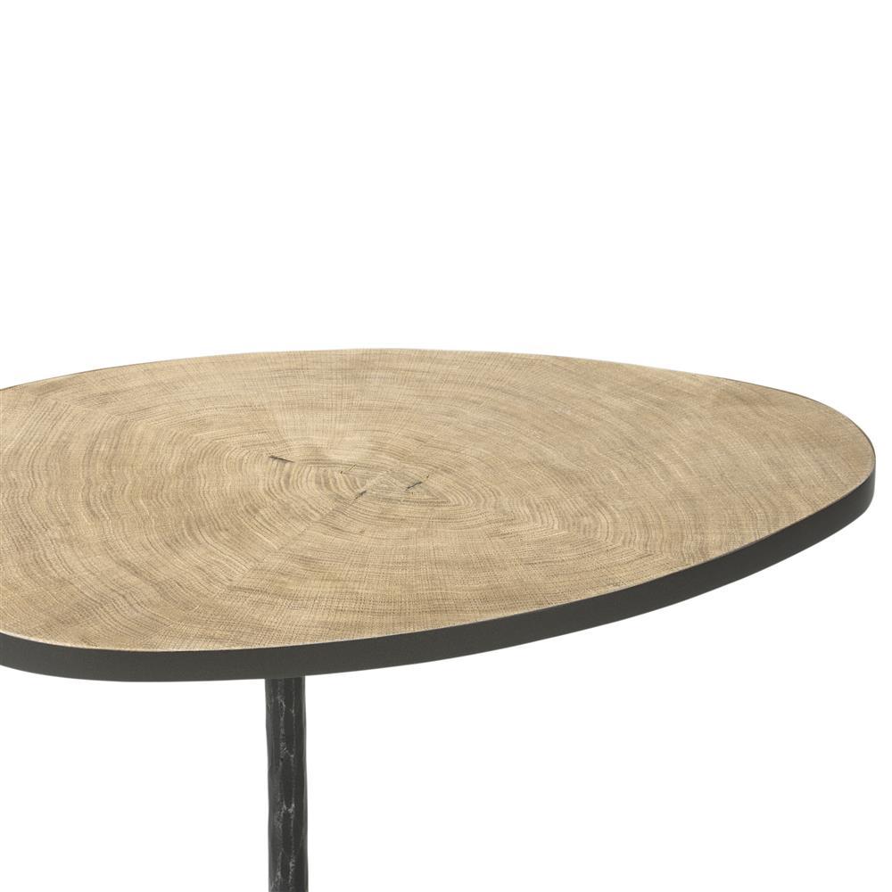 Table d'appoint design bois et métal noir