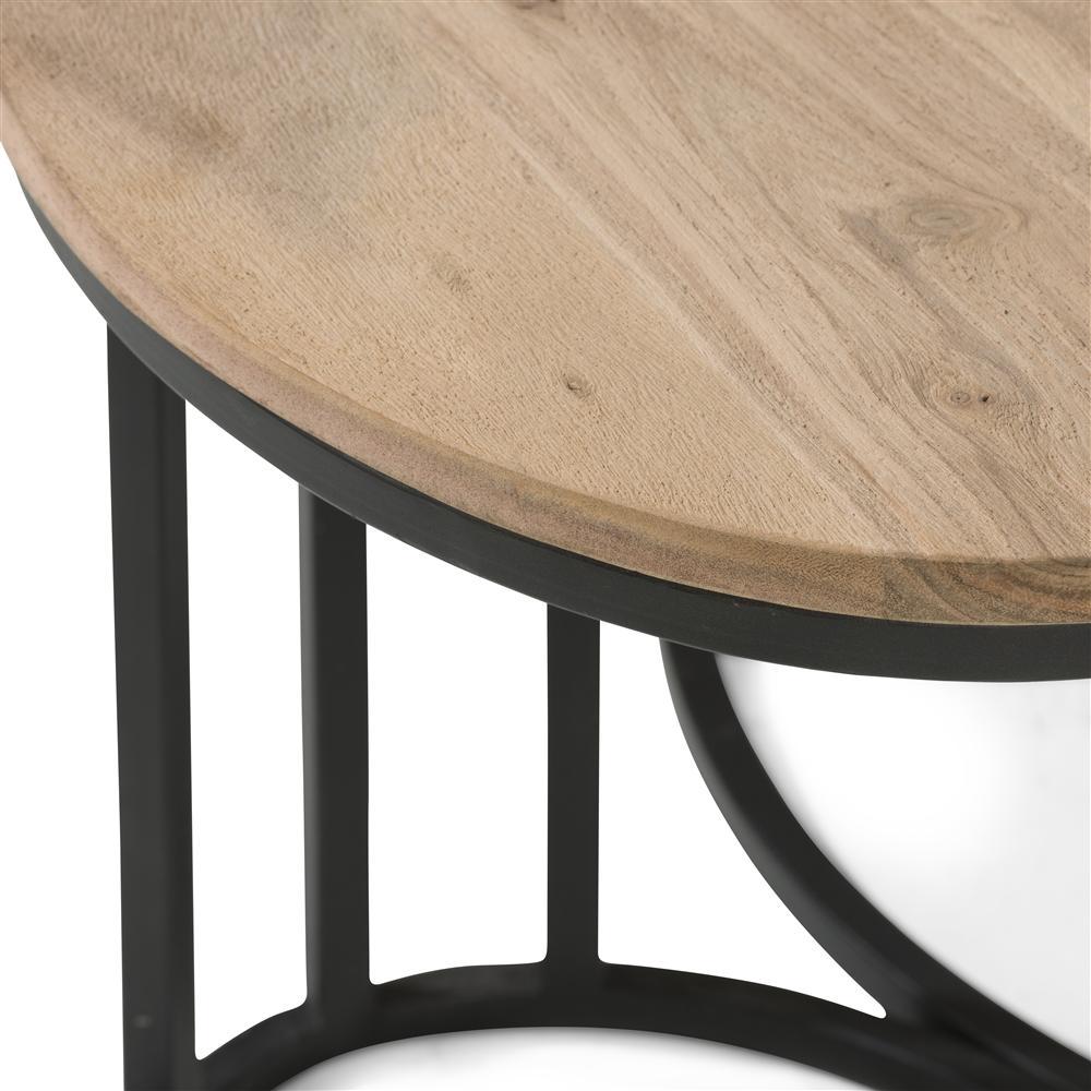 Table d'appoint double bois et métal noir