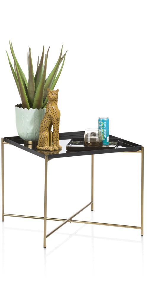 Bout de canapé carré noir pieds gold