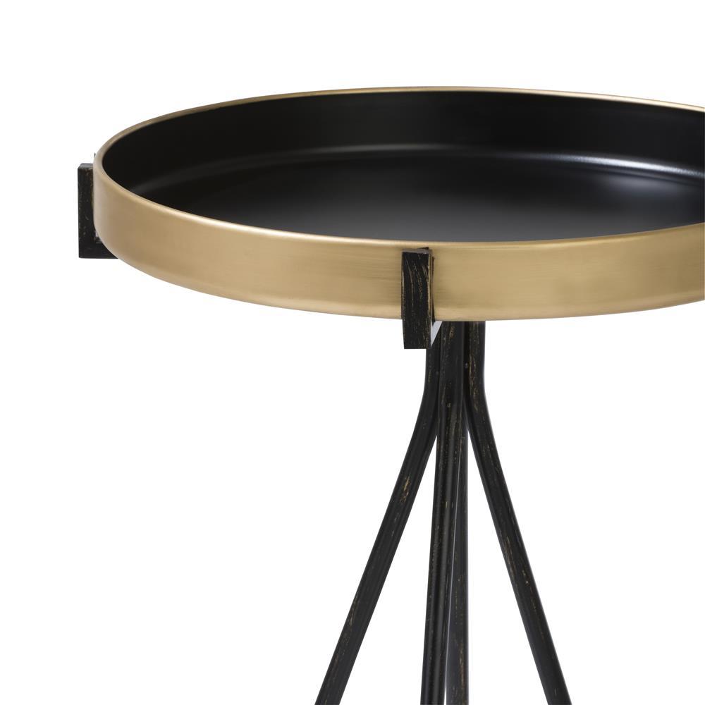 Bout de canapé plateau rond gold structure noire