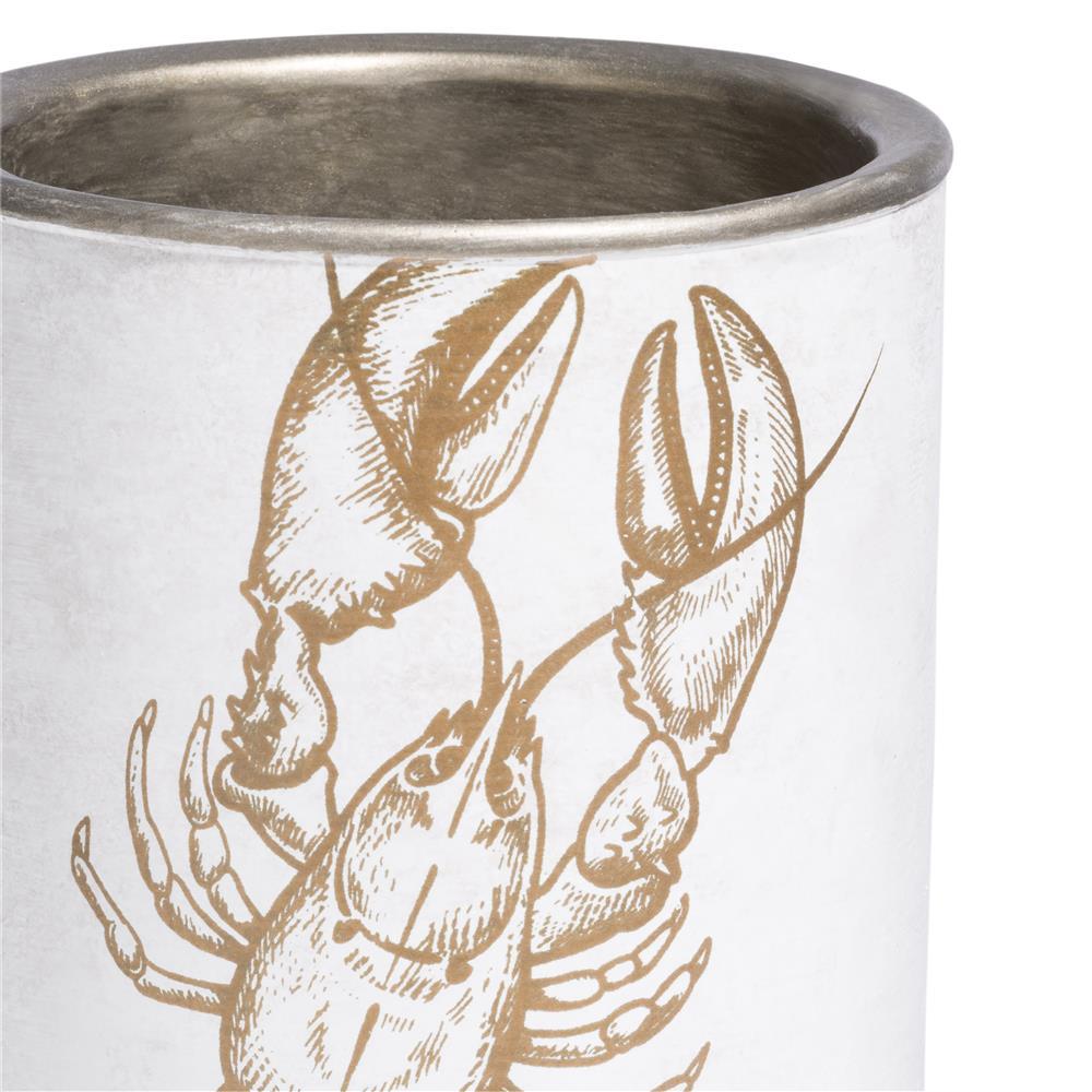 Vase blanc et gold motif homard