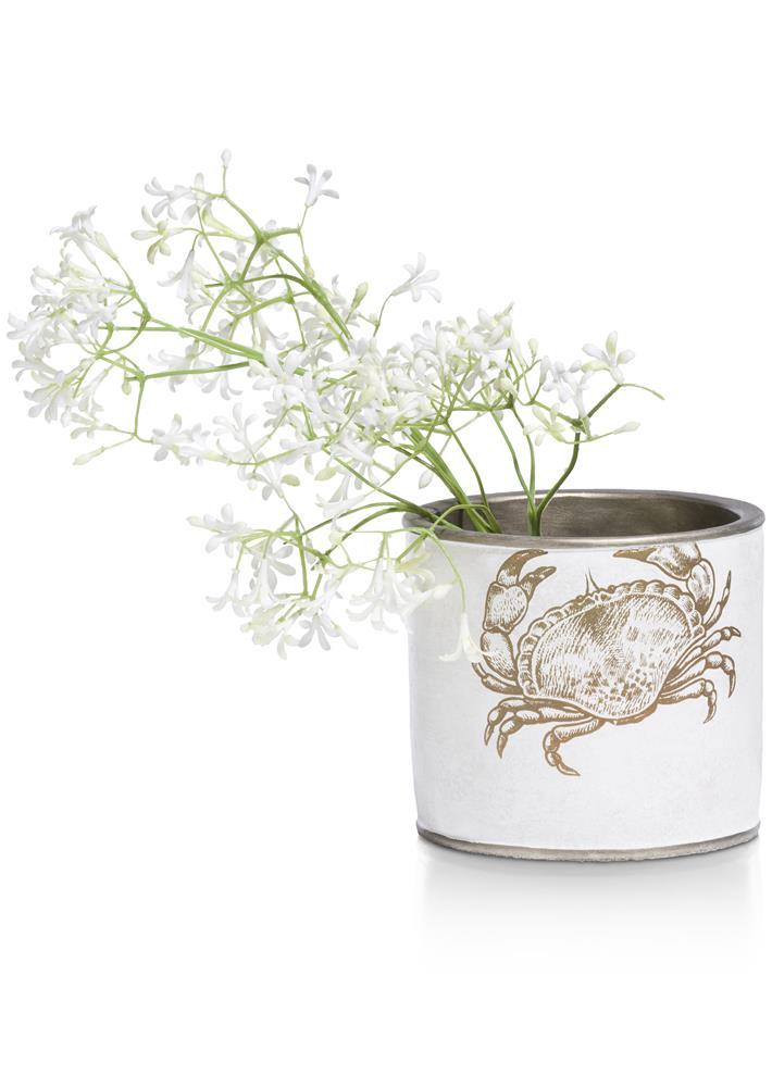 Pot de fleurs blanc et gold motif crabe