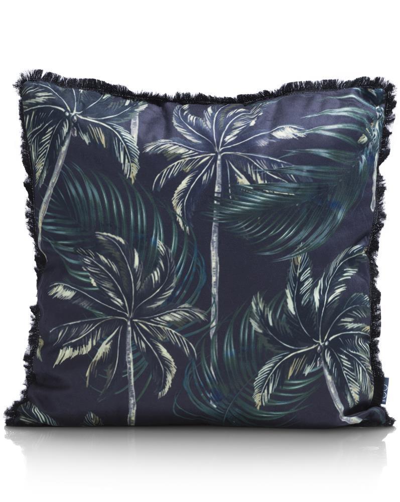 Coussin bleu et blanc motifs palmiers verts