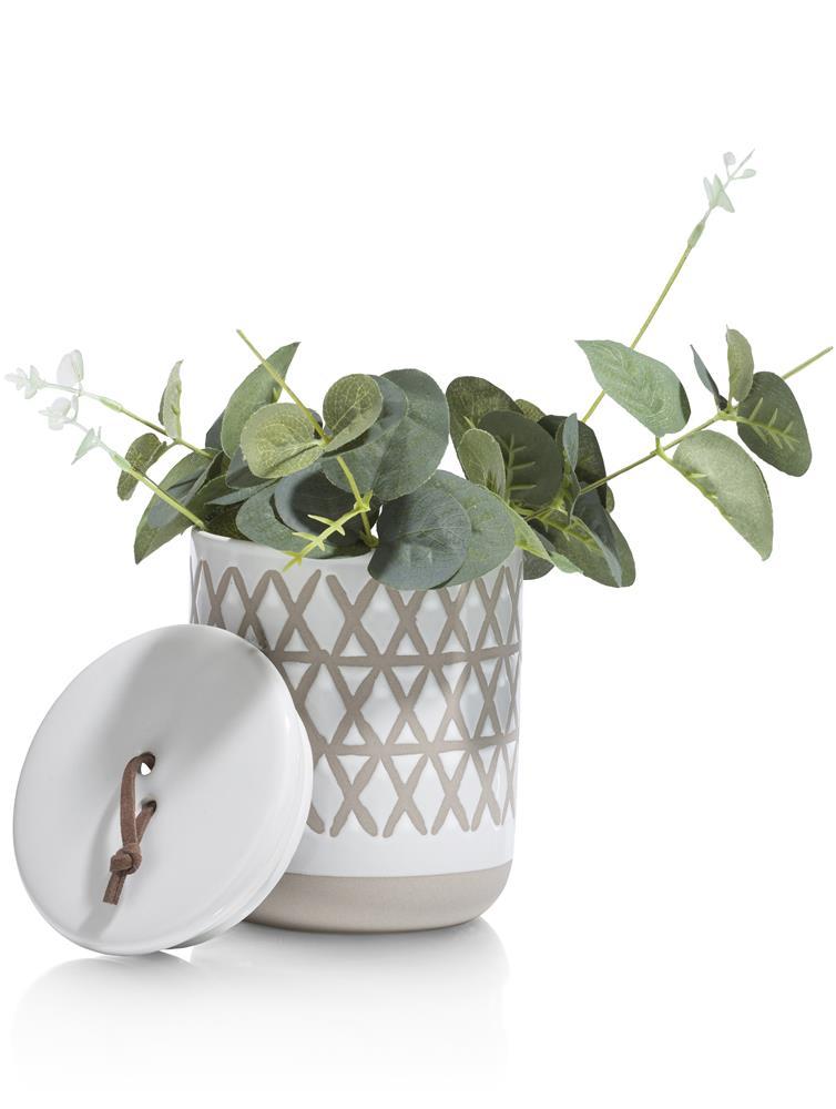 Pot en céramique blanc et beige
