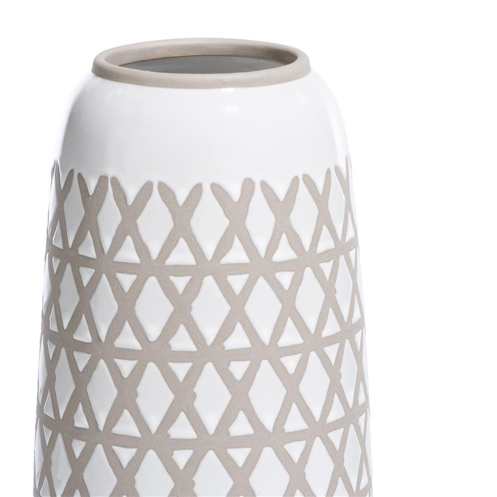 Vase en céramique blanc et beige