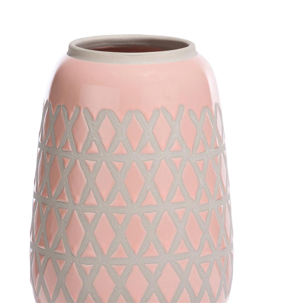 Vase en céramique rose et beige