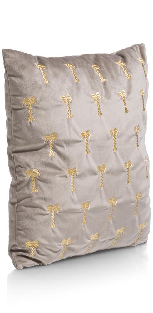 Coussin gris motifs palmiers gold