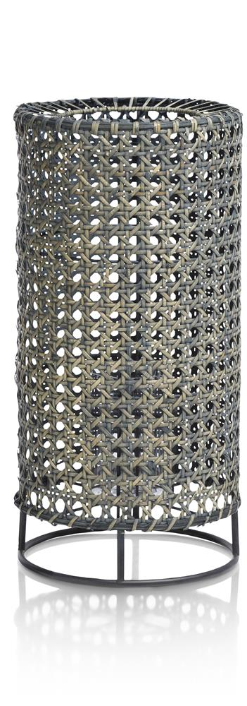 Photophore cylindre en rotin
