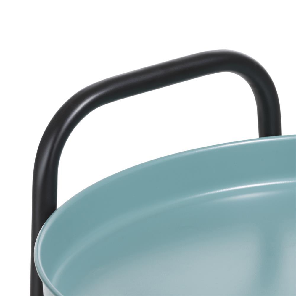 Desserte bicolore bleu noir deux plateaux ronds