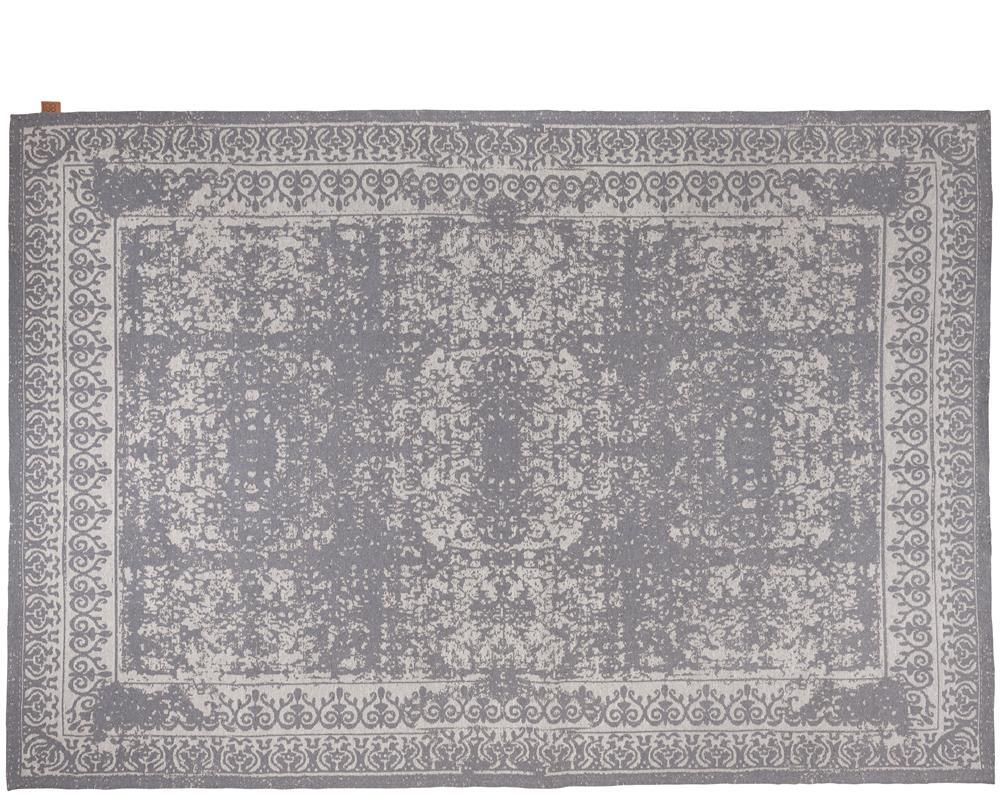 Tapis rectangulaire gris motifs beiges