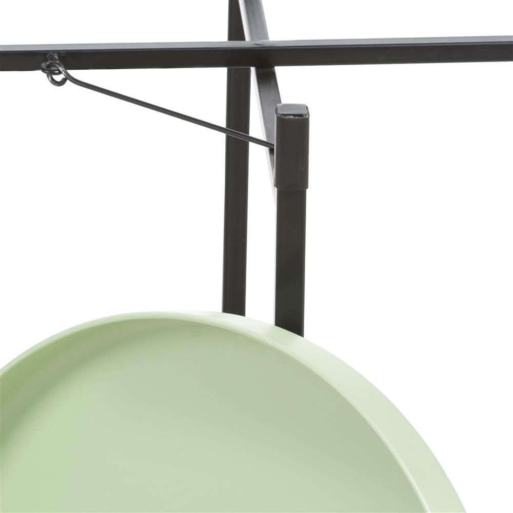 Bout de canapé rond noir et vert menthe