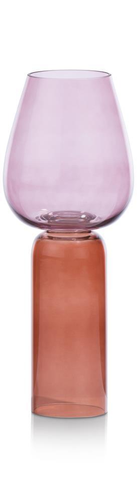Vase en verre rouge et rose