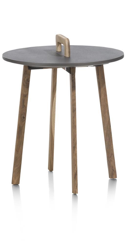 Table d'appoint plateau rond pieds et poignée en bois