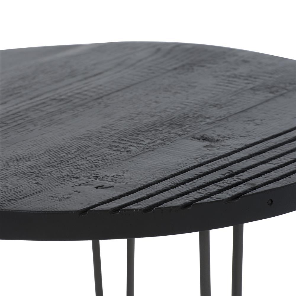 Table d'appoint plateau rond noir pieds fins