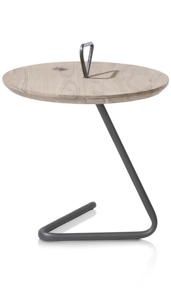 Table d'appoint plateau rond en bois et pied noir design