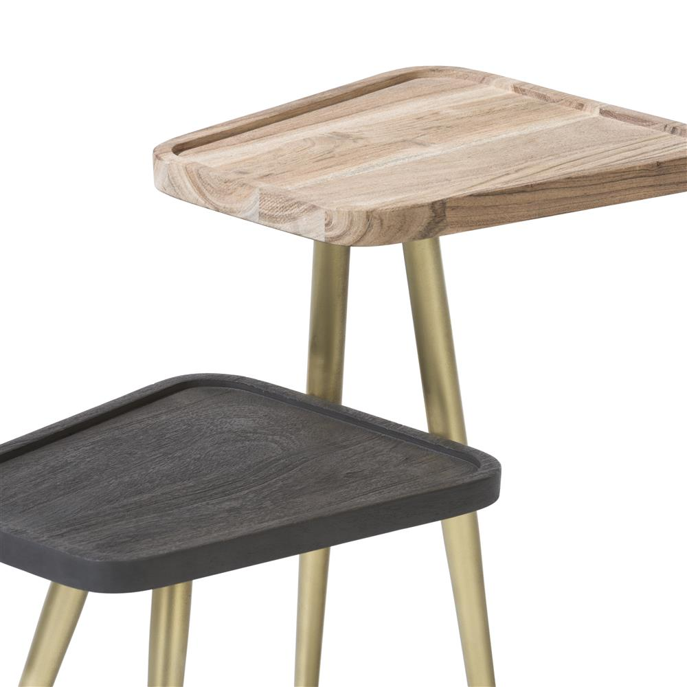 table d'appoint tendance double plateau pieds gold