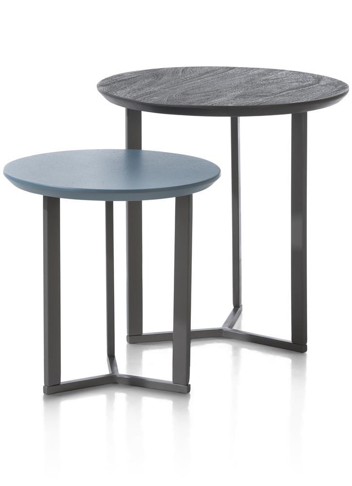 Table d'appoint double plateaux ronds bleu et noir