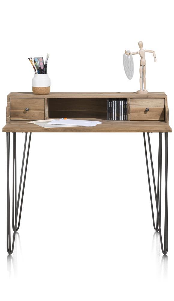Bureau en bois deux tiroirs pieds noirs