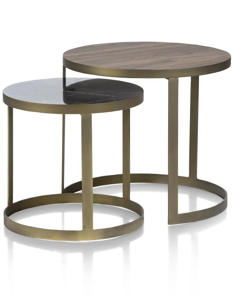 Table d'appoint gigogne noir marron gold