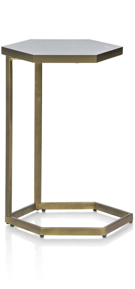 Table d'appoint plateau hexagone pied gold