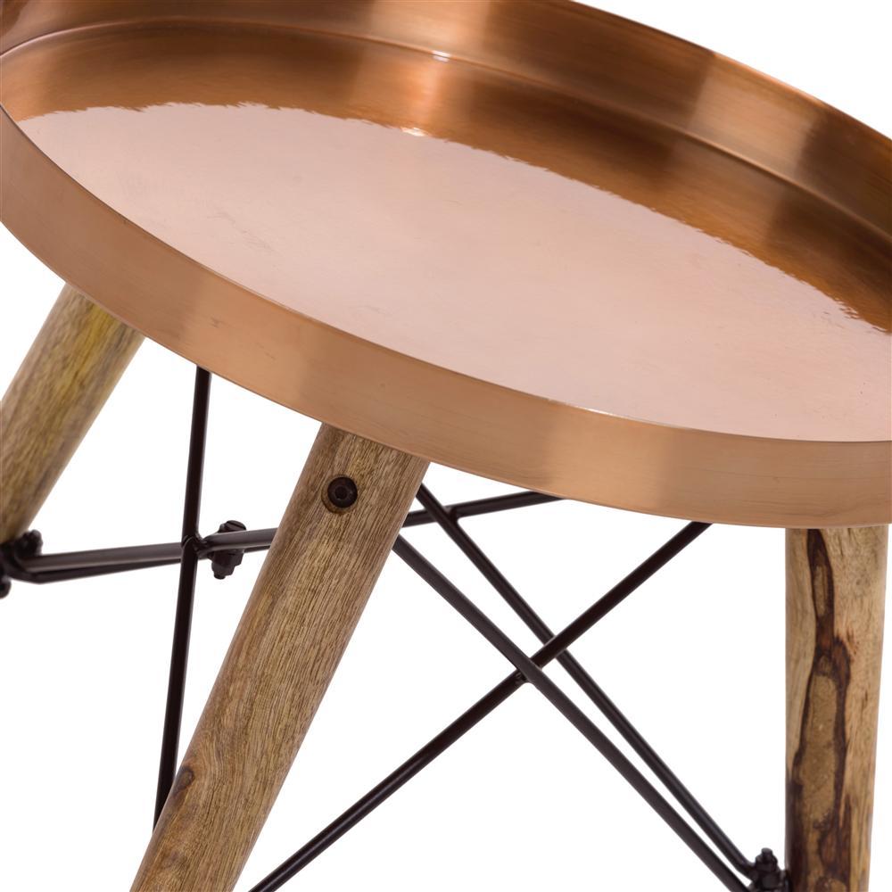 Table d'appoint plateau rond cuivré pieds en bois