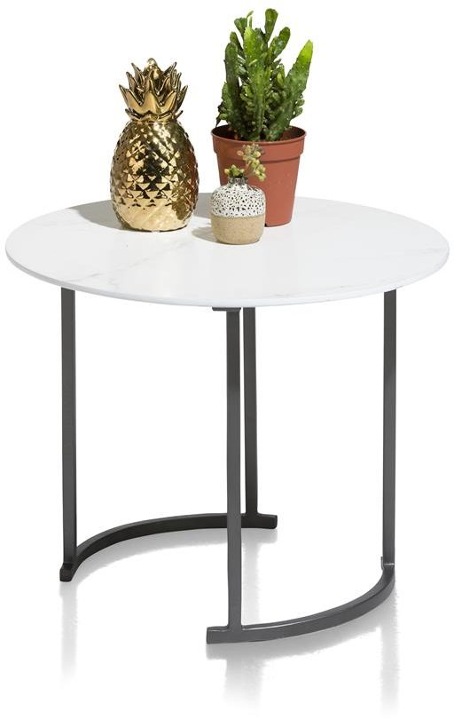 Table d'appoint plateau rond blanc pieds noirs