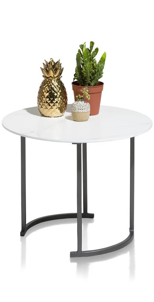 Table d'appoint plateau rond blanc pieds noirs