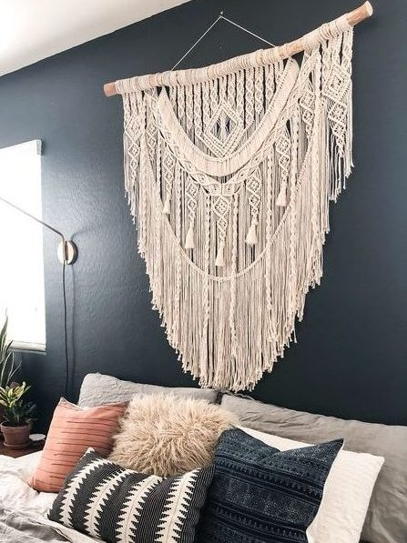 Decoration macramé mural beige