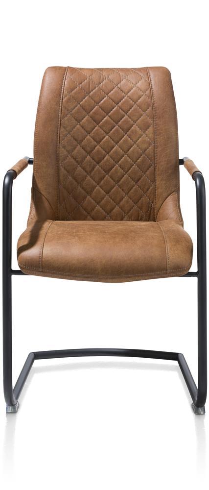 Chaise couleur cognac avec accoudoirs